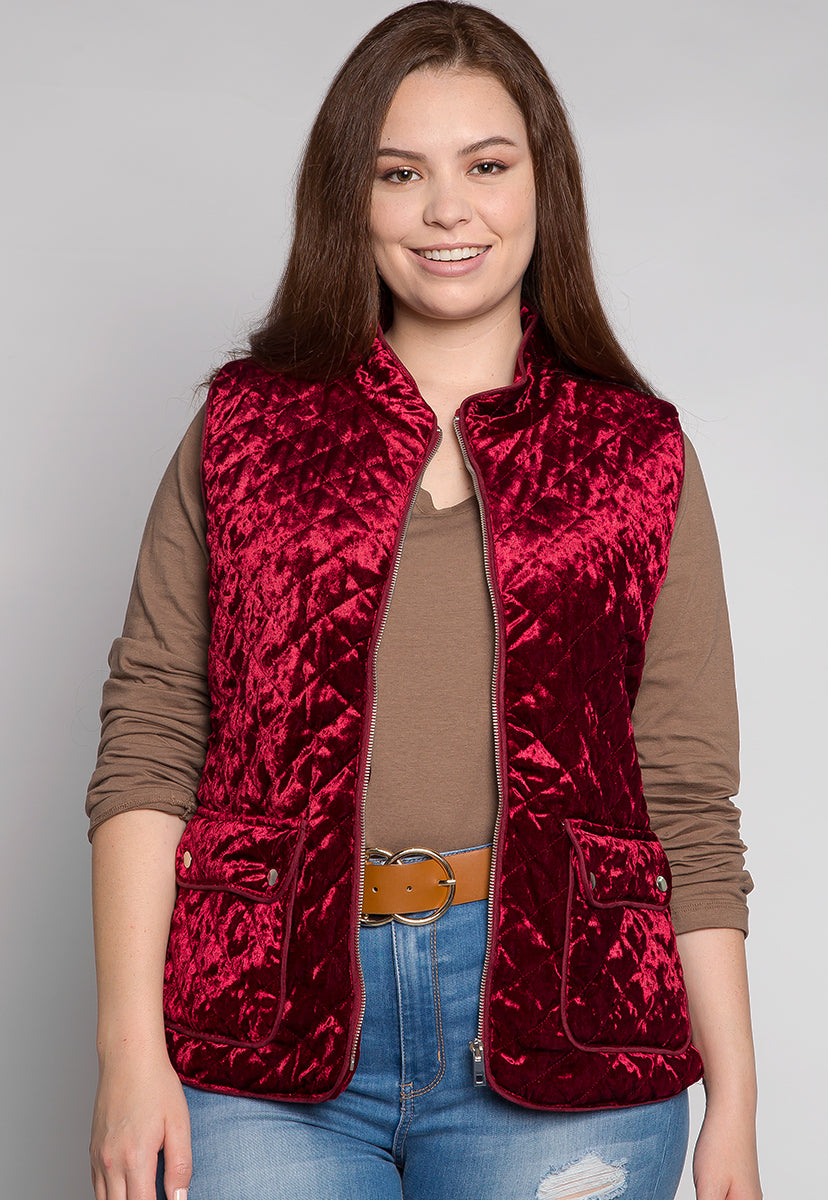 Plus Size Mountain Call Quilted Vest in Burgundy - Plus Outerwear - Wetseal