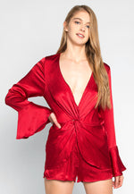 Let's Dance Twisted Front Satin Romper