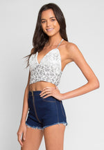 Krische Floral Crop Top in Off White
