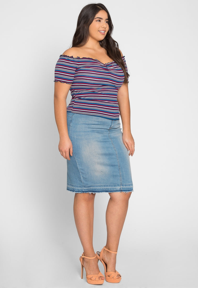 Plus Size Chance Stripe Off Shoulder Top in Navy - Plus Tops - Wetseal