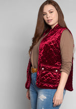 Plus Size Mountain Call Quilted Vest in Burgundy