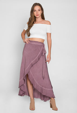 Vine Mineral Wash Wrap Skirt