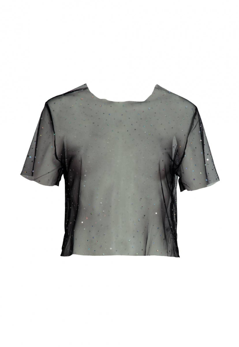 Wixon Sparkle Mesh Top - Shirts & Blouses - Wetseal
