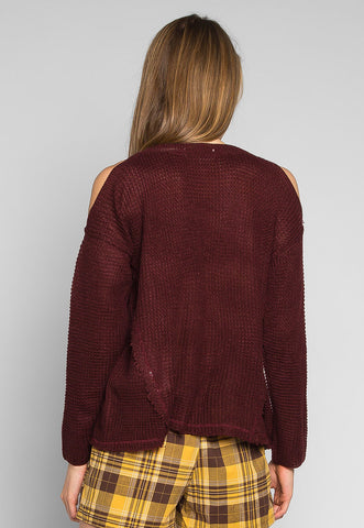 Girls Like You Pullover Sweater in Burgundy