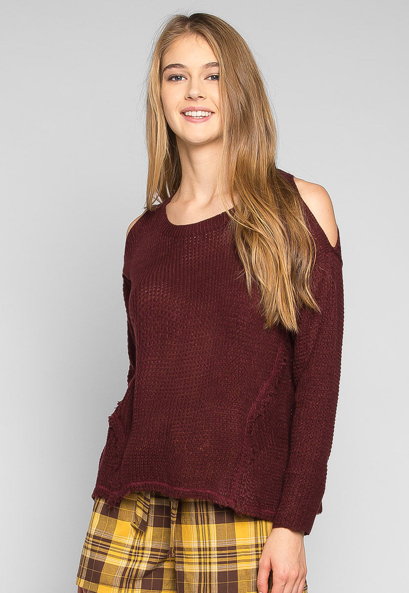 Girls Like You Pullover Sweater in Burgundy - Sweaters & Sweatshirts - Wetseal
