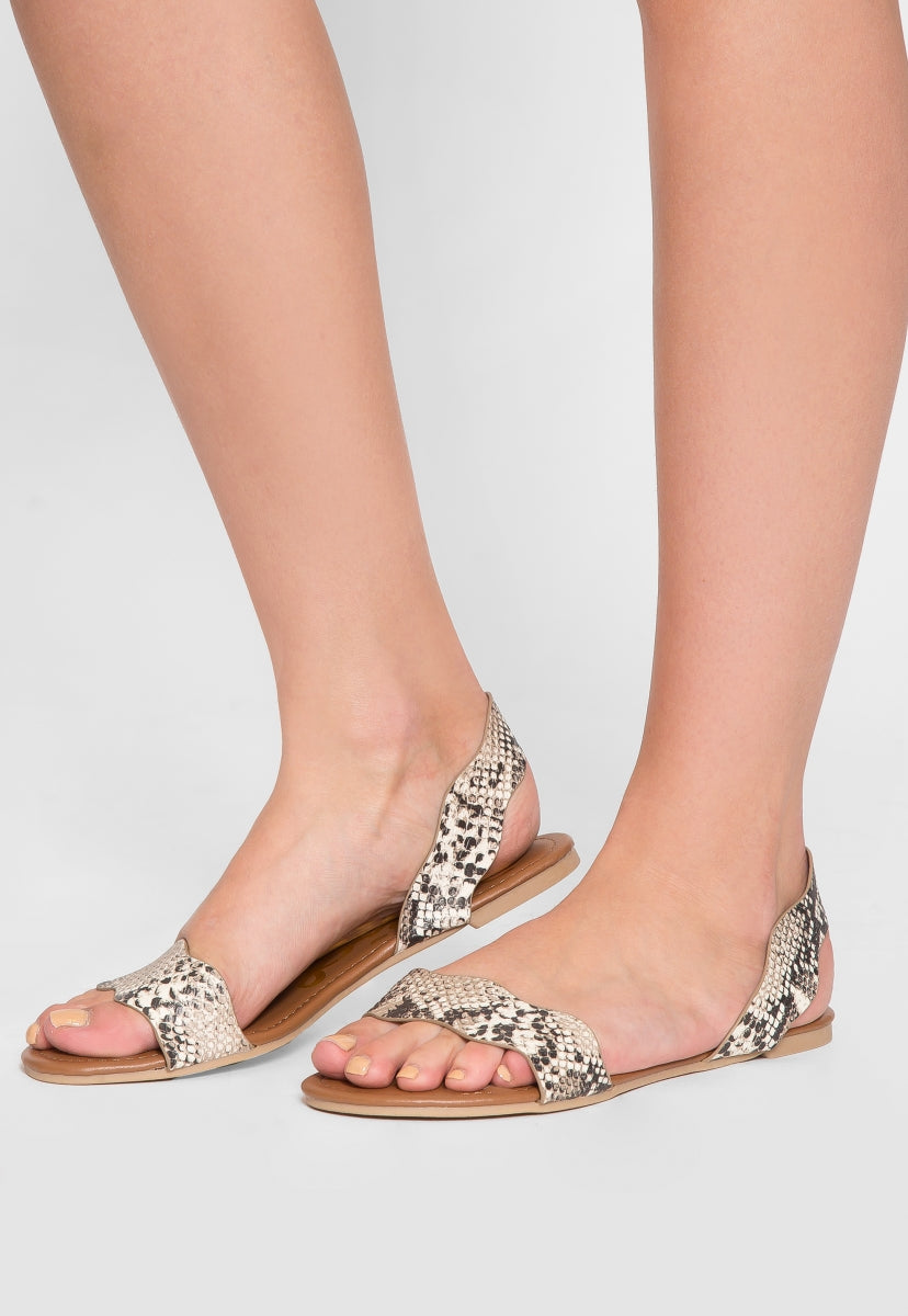Ballad Scalloped Snakeskin Sandals - Shoes - Wetseal