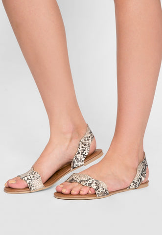Ballad Scalloped Snakeskin Sandals