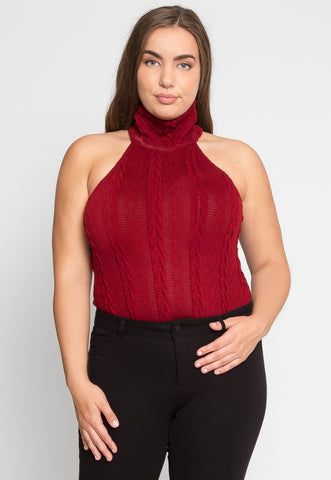 Plus Size Turtleneck Bodysuit in Burgundy