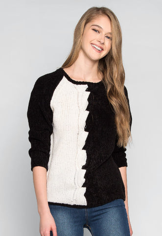 Side to Side Contrast Knitted Sweater