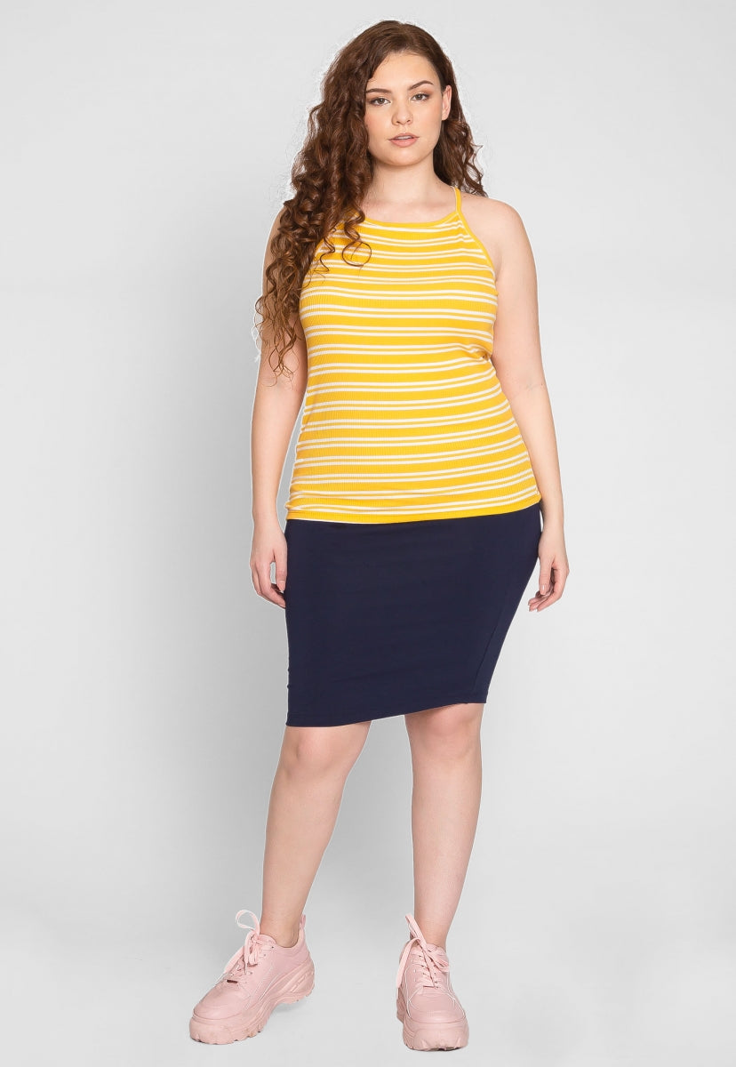 Plus Size Hermosa Halter Stripe Top in Yellow - Plus Tops - Wetseal