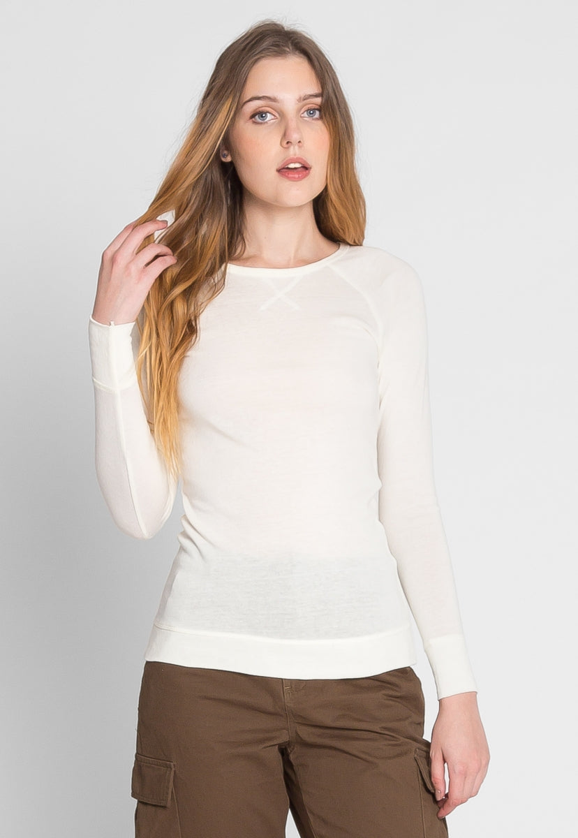 Below Zero Topstitch Sweater Top in White - Shirts & Blouses - Wetseal