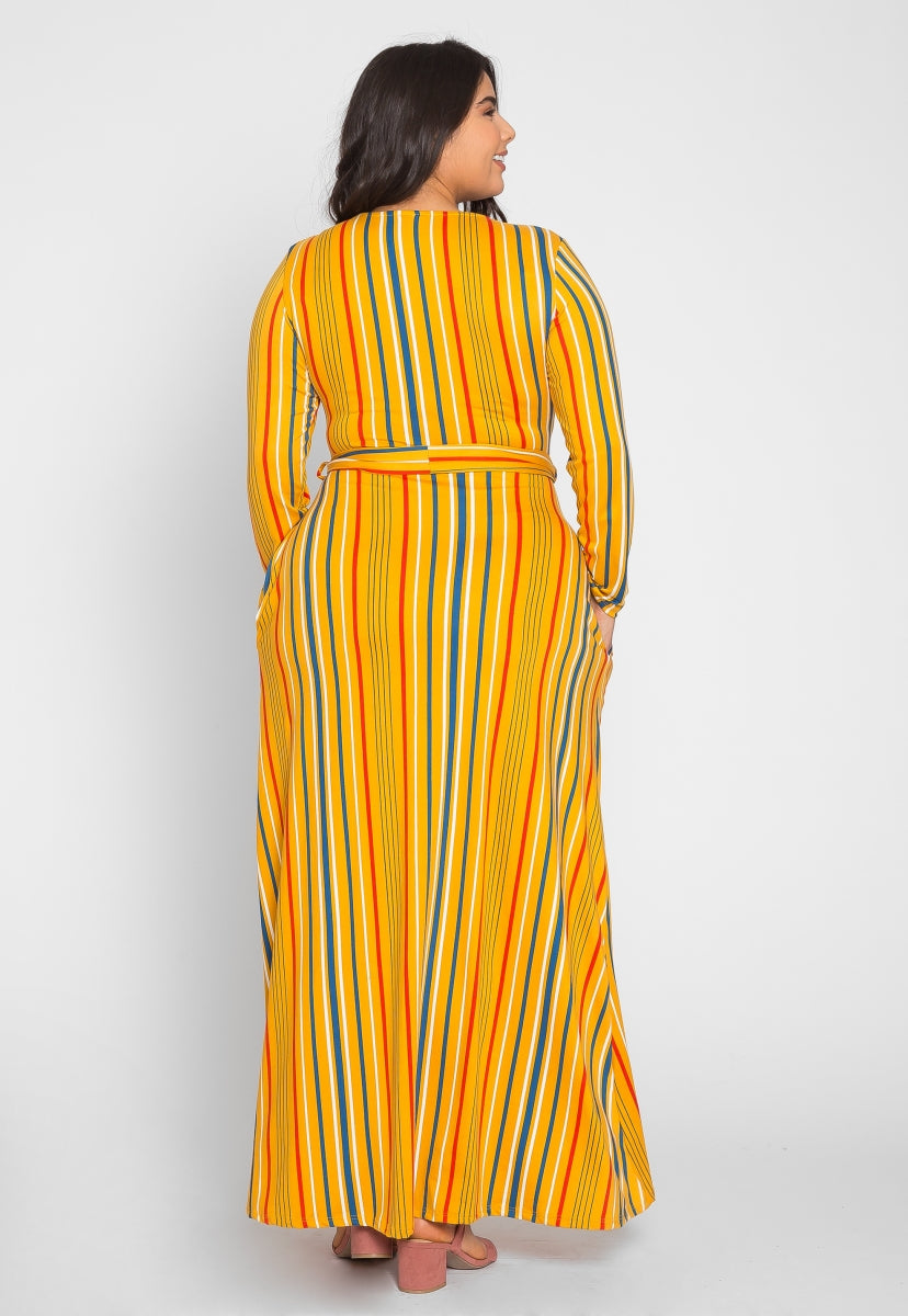 Plus Size Sahara Stripe Maxi Dress in Yellow - Plus Dresses - Wetseal