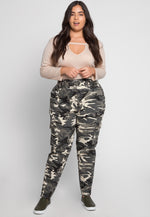 Plus Size Camo High Waist Utility Pants