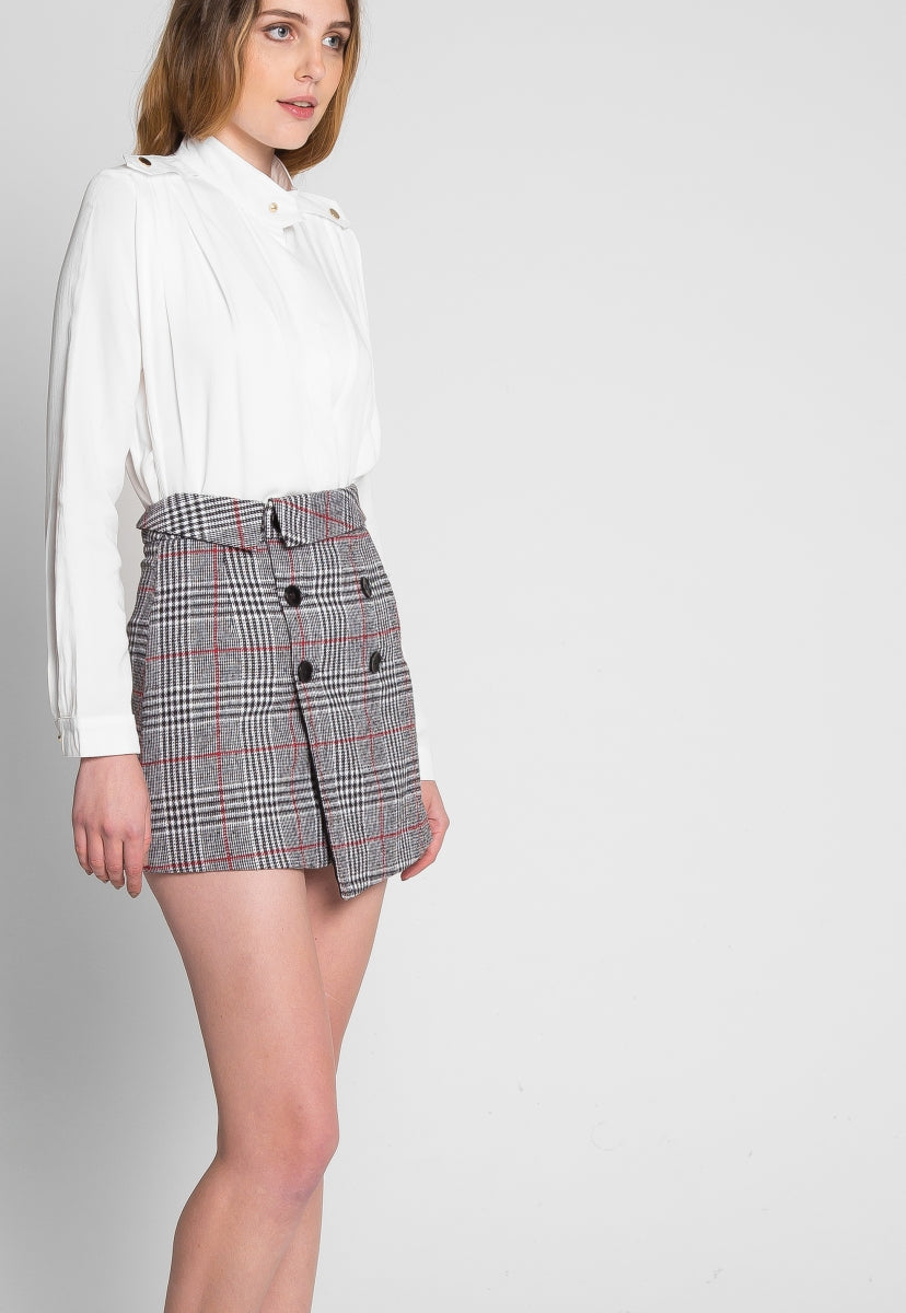 Westfield Plaid Wrap Skirt - Skirts - Wetseal