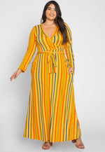 Plus Size Sahara Stripe Maxi Dress in Yellow