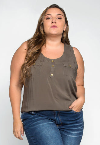 Plus Size Premonition Sleeveless Blouse in Ash Olive