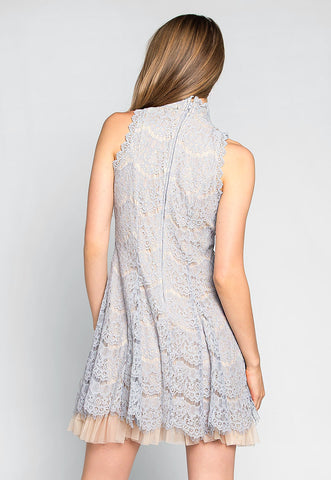Wait For Me Mock Neck Lace Dress in Gray