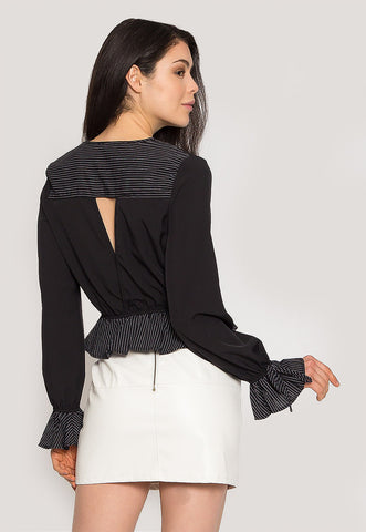Night Out Surplice Blouse in Black
