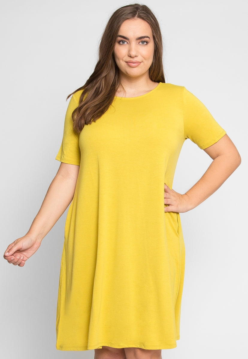 Plus Size Best Day Knit Dress in Yellow