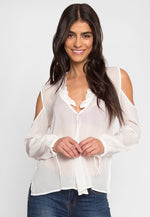 Exquisite Cold Shoulder Ruffle Top