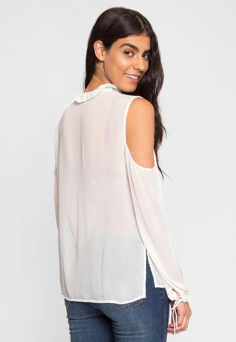 Exquisite Cold Shoulder Ruffle Top - Shirts & Blouses - Wetseal