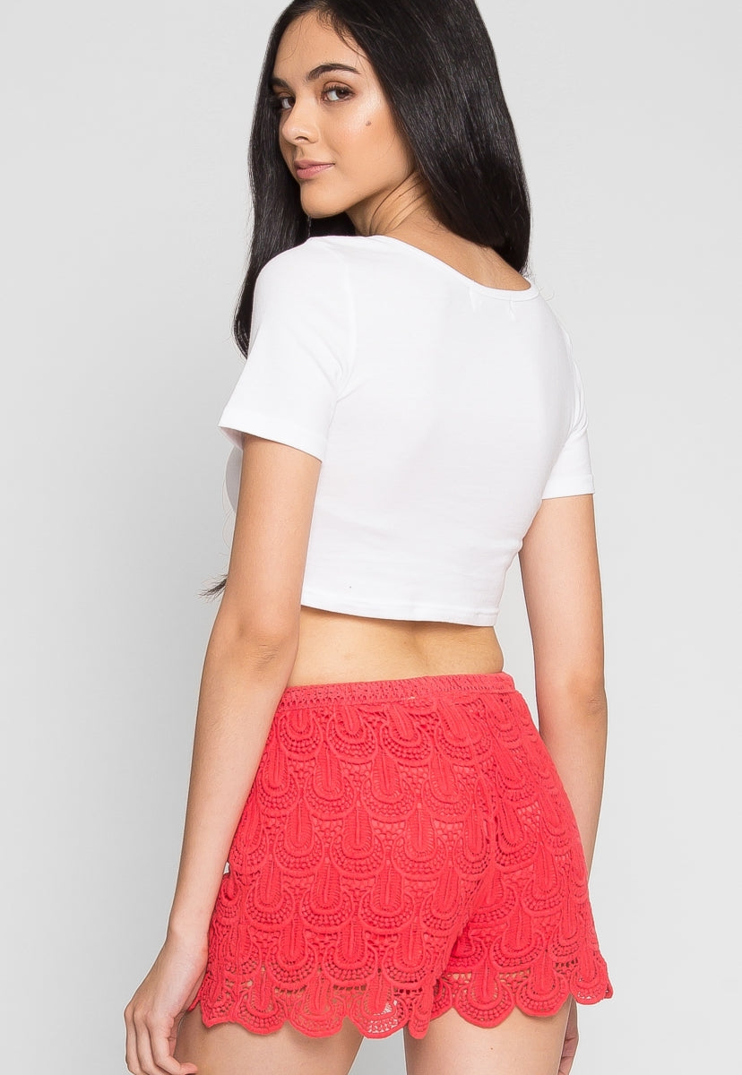 Cherry Crochet Shorts - Short - Wetseal