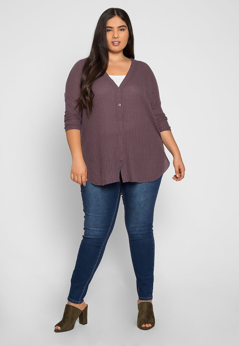Plus Size Emily Buttoned Cardigan in Purple - Plus Outerwear - Wetseal