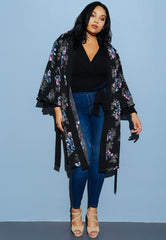 Plus Size Madame Floral Kimono by Wet Seal