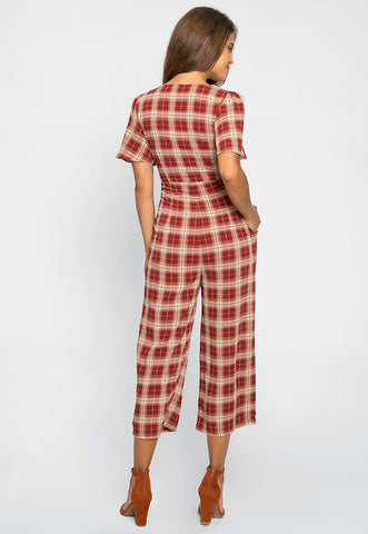 Spice Tie Front Plaid Jumpsuit