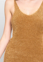 Blaze Fuzzy Bodycon Dress in Mocha