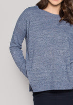 Marily Step Hem Oversized Sweater in Blue