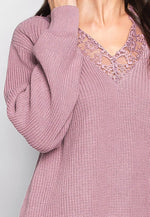 Sarah Lace Trim V Neck Sweater