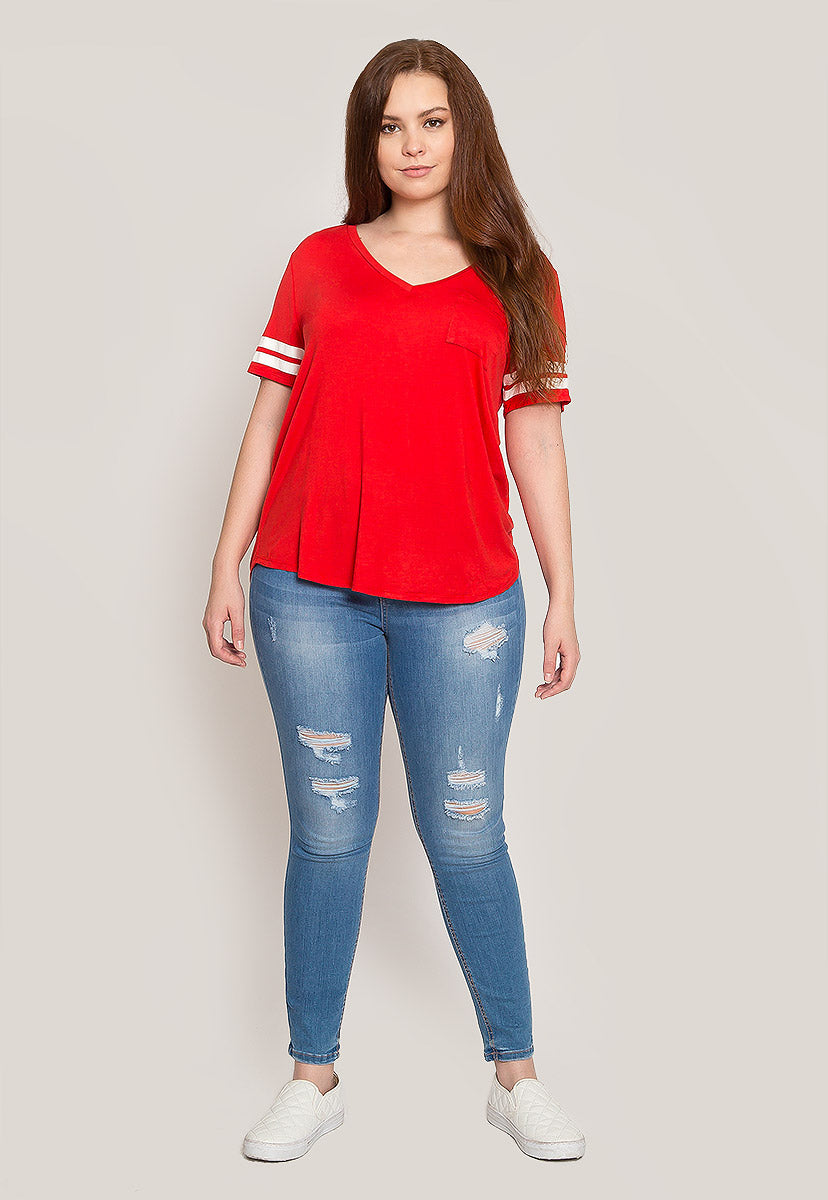 Plus Size Varsity V-Neck Top - Plus Tops - Wetseal