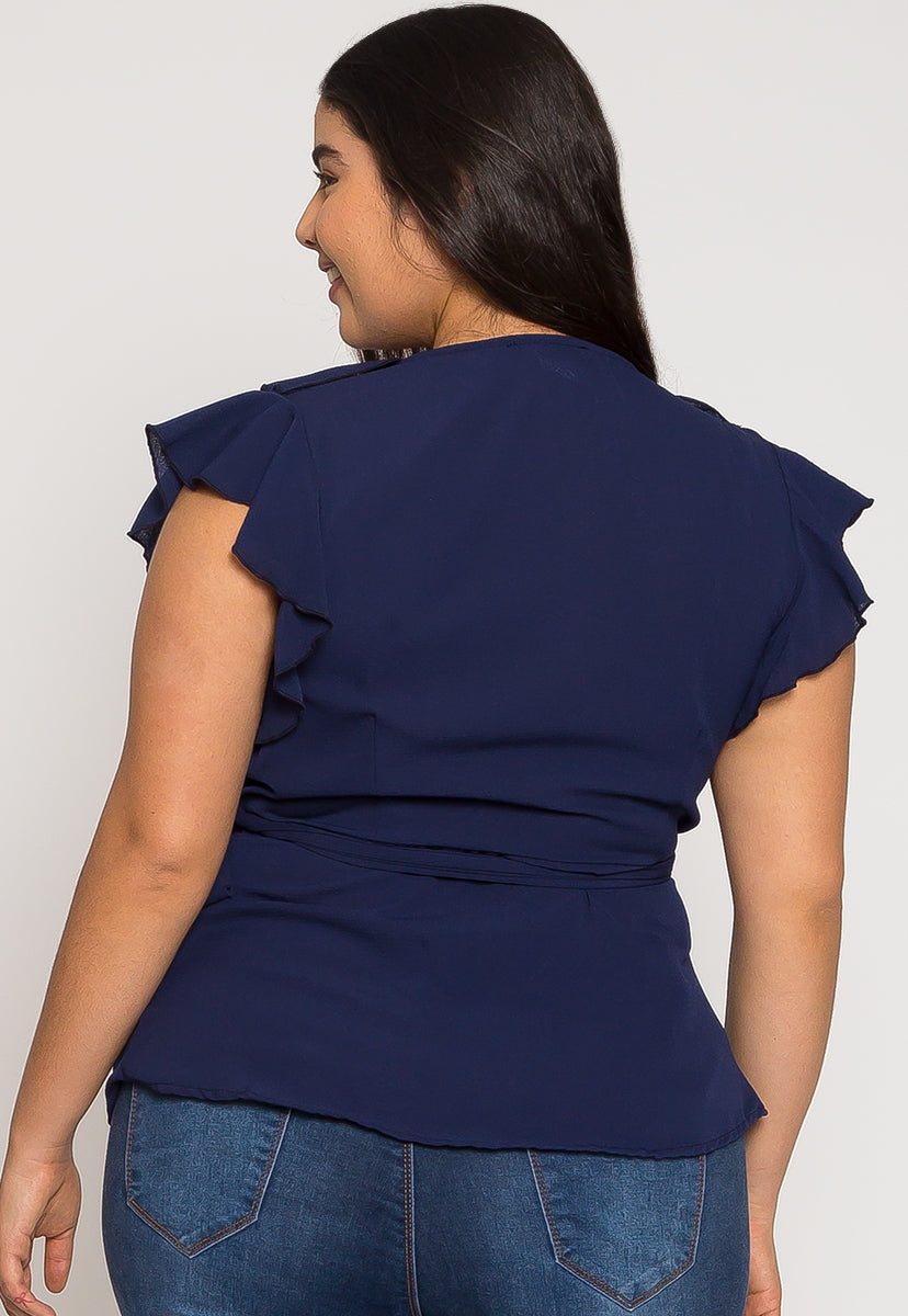 Plus Size Remember Me Wrap Blouse in Navy - Plus Tops - Wetseal