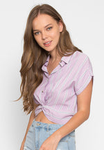 Mighty Real Stripe Crop Shirt in Lavender