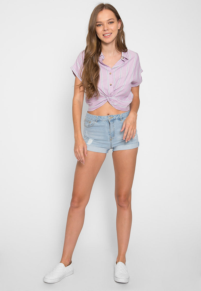 Mighty Real Stripe Crop Shirt in Lavender - Shirts & Blouses - Wetseal