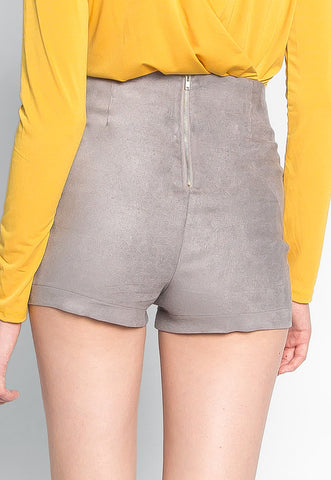 Here To Suede Shorts in Gray
