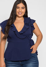 Plus Size Remember Me Wrap Blouse in Navy