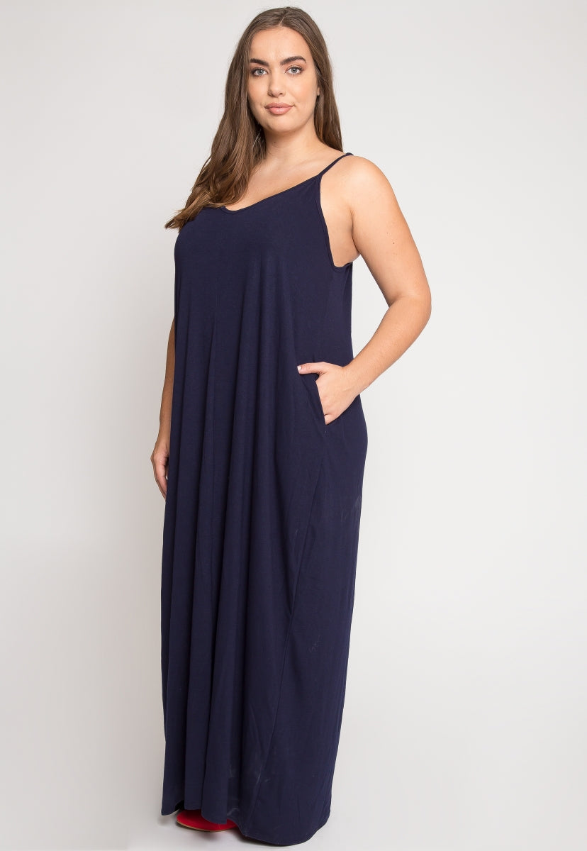 Plus Size Gust Maxi Dress in Navy
