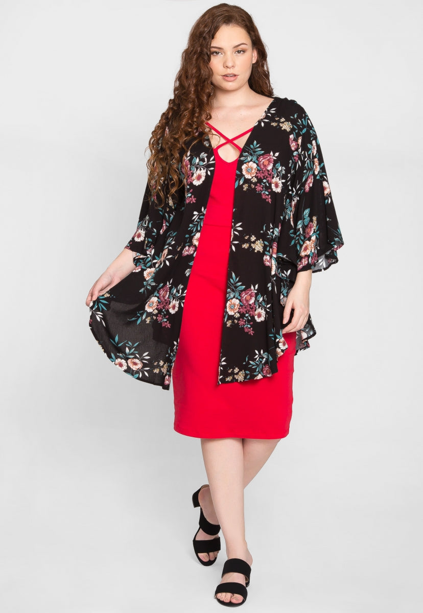 Plus Size Butterfly Floral Kimono in Black - Plus Outerwear - Wetseal