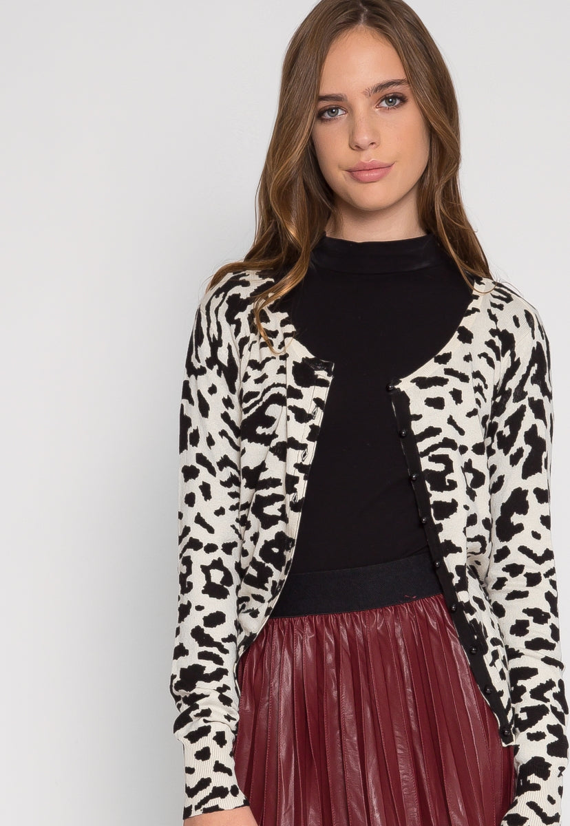 Wild Side Cardigan in White Leopard - Sweaters & Sweatshirts - Wetseal