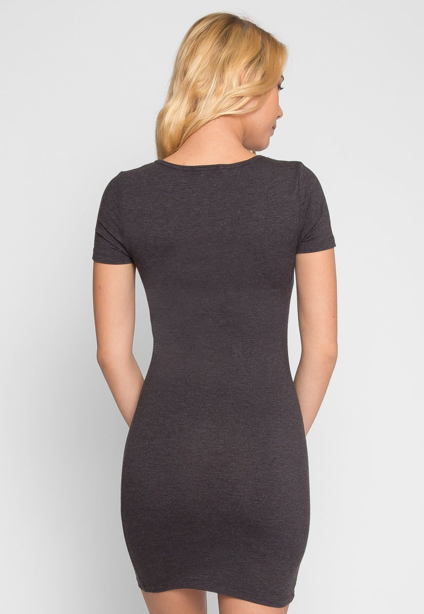 Sensual Bodycon Dress in Charcoal - Dresses - Wetseal