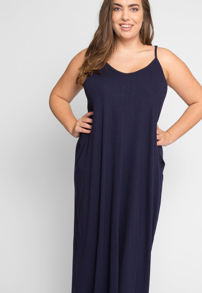 Plus Size Gust Maxi Dress in Navy | Wet Seal