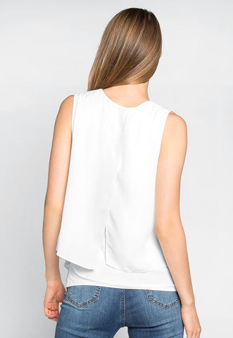 Stay True Layered Loose Fit Blouse in White