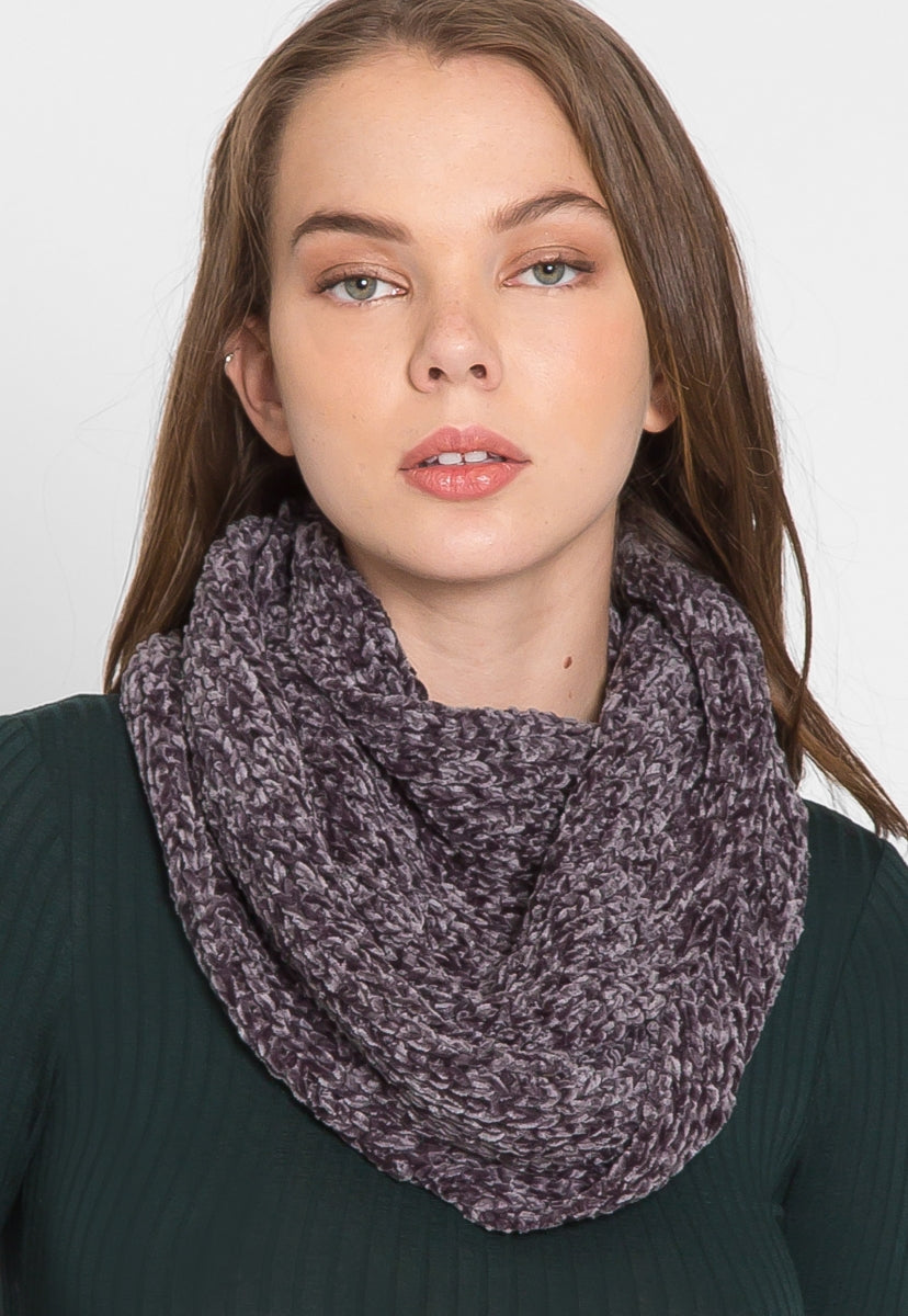 Chenille Infinity Scarf in Charcoal - Scarves & Gloves - Wetseal