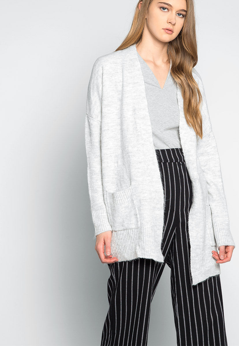 Ginger Open Front Heathered Cardigan - Sweaters & Sweatshirts - Wetseal