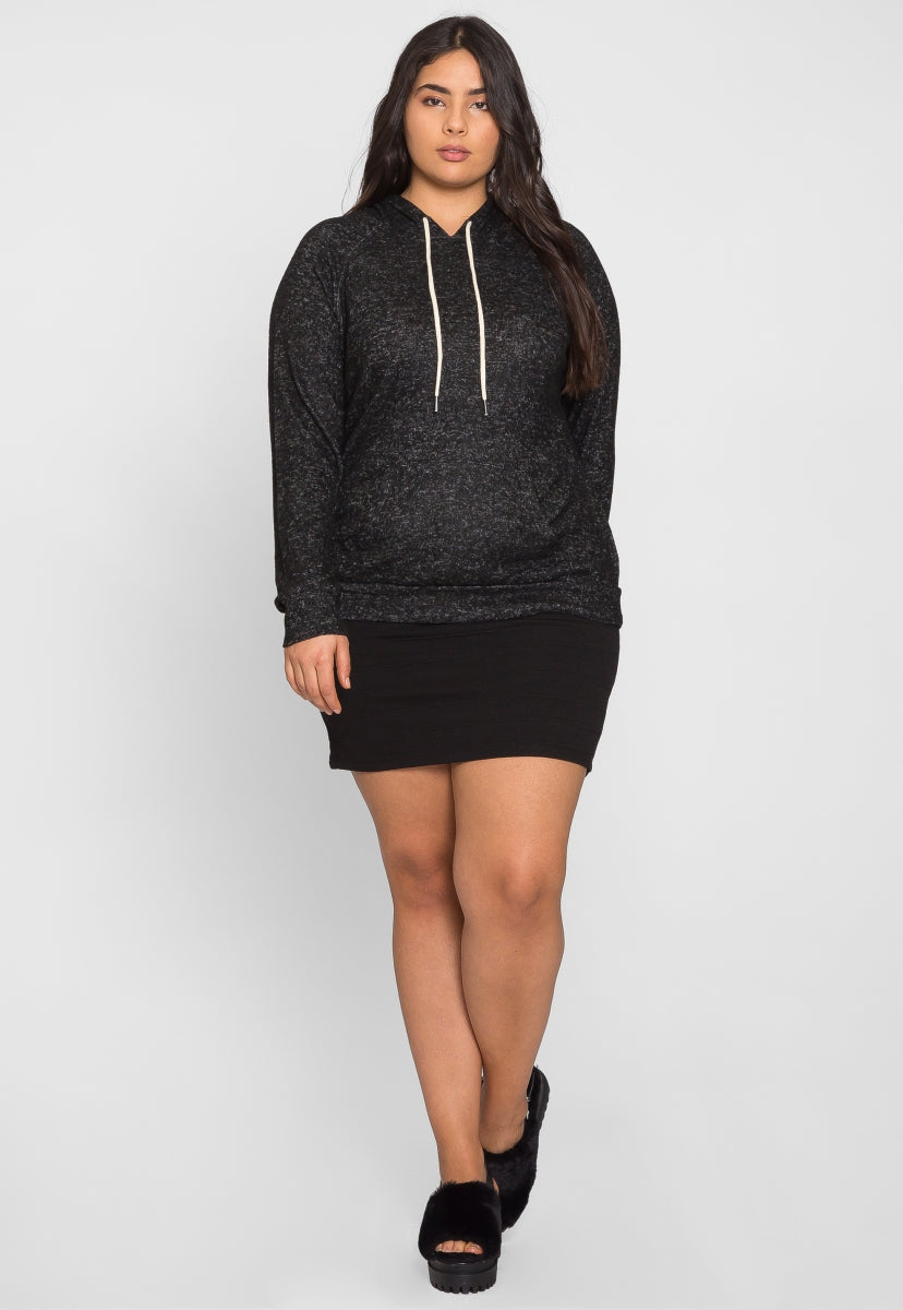 Plus Size Light Heathered Hoodie in Black - Plus Outerwear - Wetseal
