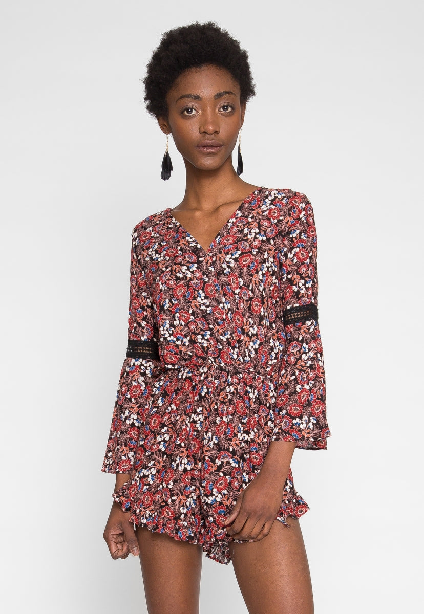 Floral wrap romper in black - Rompers & Jumpsuits - Wetseal