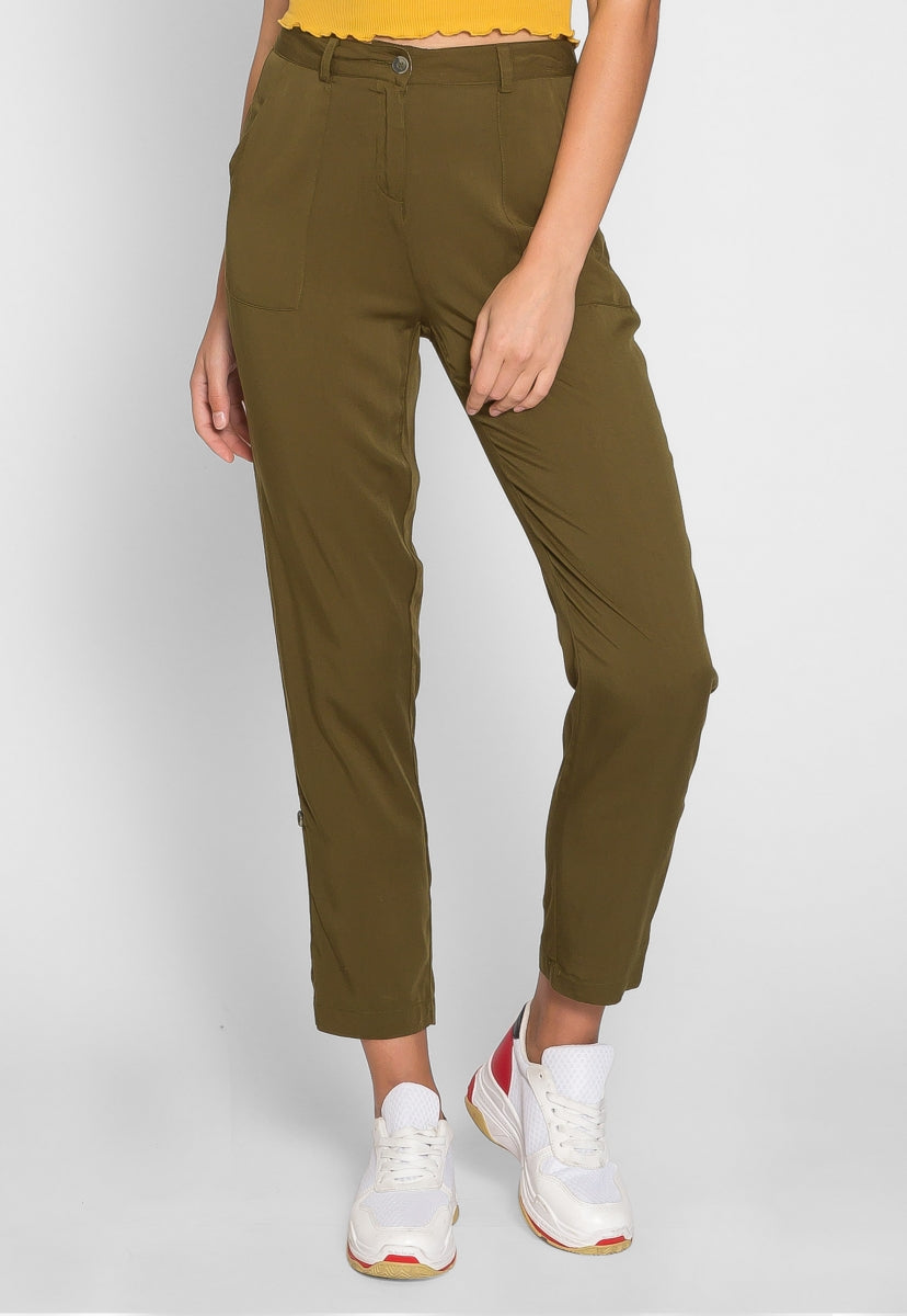 Andi High Waist Rayon Pants in Olive - Pants - Wetseal