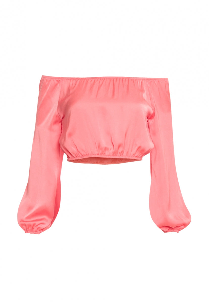Bad Girls Satin Off Shoulder Top in Pink - Crop Tops - Wetseal